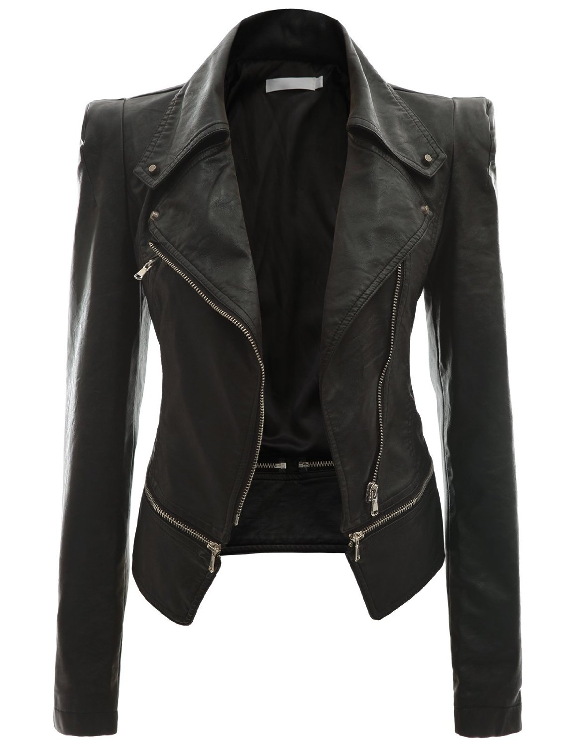 See all results for womens black leather jacket. Top Rated from Our Brands See more. Otterline. Our Brand. Otterline Women's Washable PU Slim-Fit Moto Jacket. $ $ 49 00 Prime. out of 5 stars Tanming Women's Faux Leather Moto Biker Short Coat Jacket. by Tanming. $ $ 39 99 Prime.